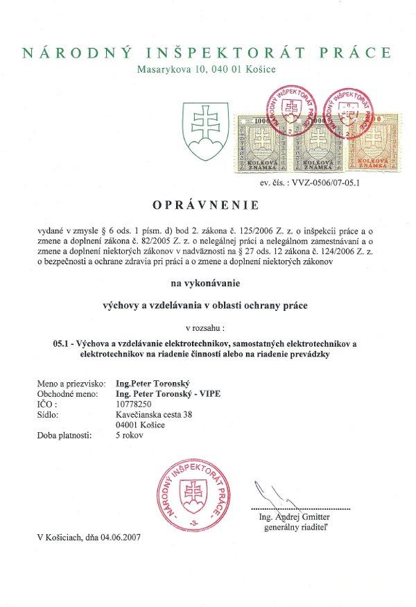 BOZP Košice - oprávnenie na vykonávanie výchovy a vzdelávania v oblasti ochrany práce