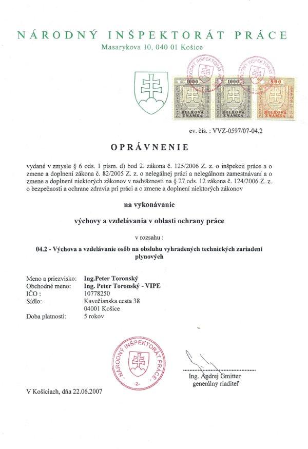 BOZP Košice - oprávnenie, ochrana práce, plyn, plynové zariadenie