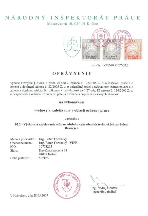 BOZP Košice - oprávnenie, tlakové zariadenie, práca s tlakovými zariadeniami