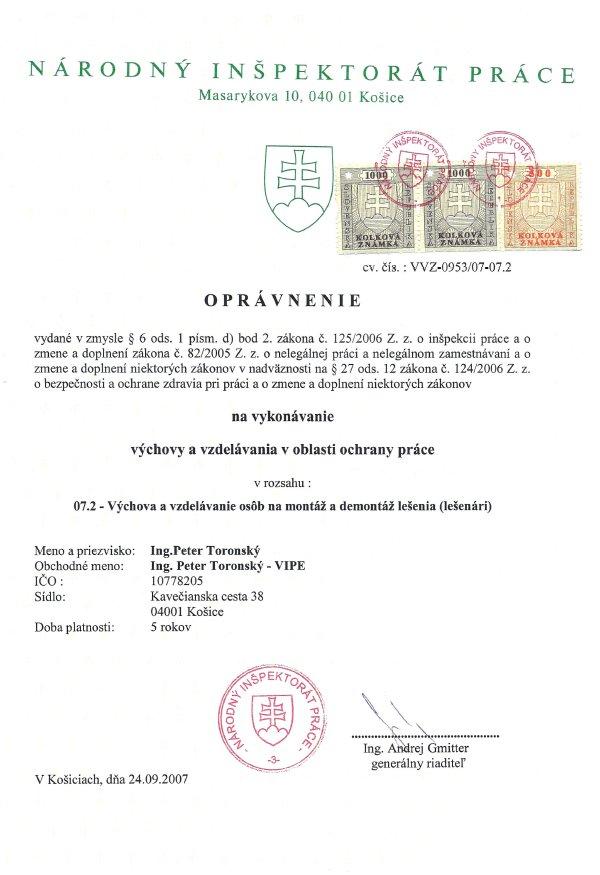 BOZP Košice - lešenie, lešenári, práca vo výškach - stavba lešenia, oprávnenie, certifikát